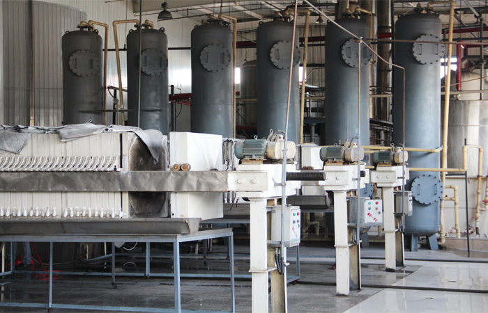 filter press during glucose syrup processing plant